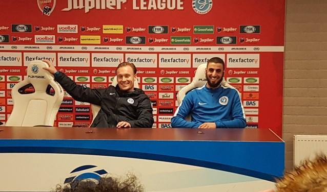 Mark Diemers en Youssef El Jebli tijdens de persconferentie.