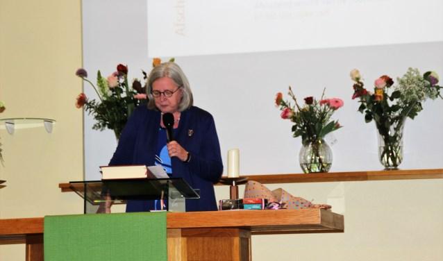 Het laatste woord tijdens het afscheid van Joke Overeem-Prins als directeur van Hospice De Regenboog was uiteraard aan Joke Overeem zelf. Foto Dick Baas