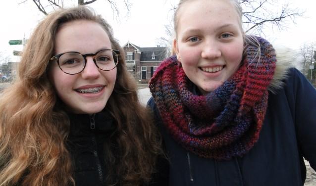 Lotte van Veelen (links) en Jiska Versteeg: ,,Jongerenraad Barneveld heeft zeker nut''(Foto: Persbureau Polhuys)