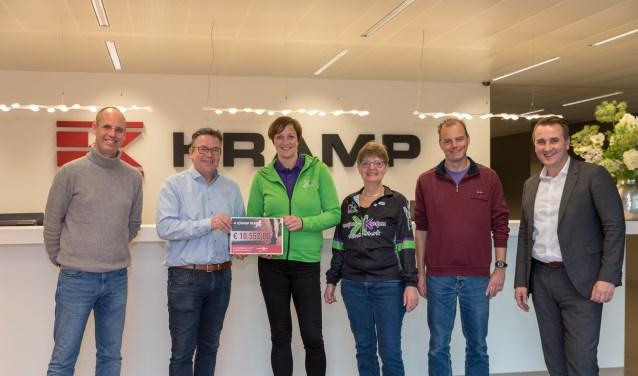 Op de foto v.l.n.r.: Sjoerd Boom (Kramp Run) , Jan Frans Berends (Director logistics Kramp Groep) , Sabine Hoitink en Jantine de Haan (Kanjers voor Kanjers), Gerrit Dijkslag (Kramp Run)  en Reiner Sloetjes  (Region sales director Kramp Groep).