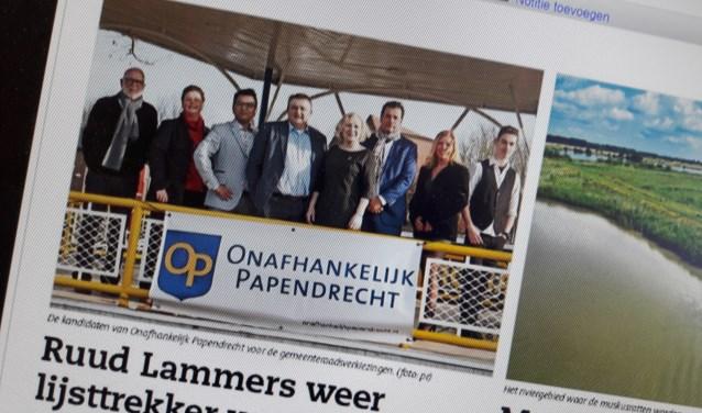 De foto die vorige week in het Papendrechts Nieuwsblad stond.