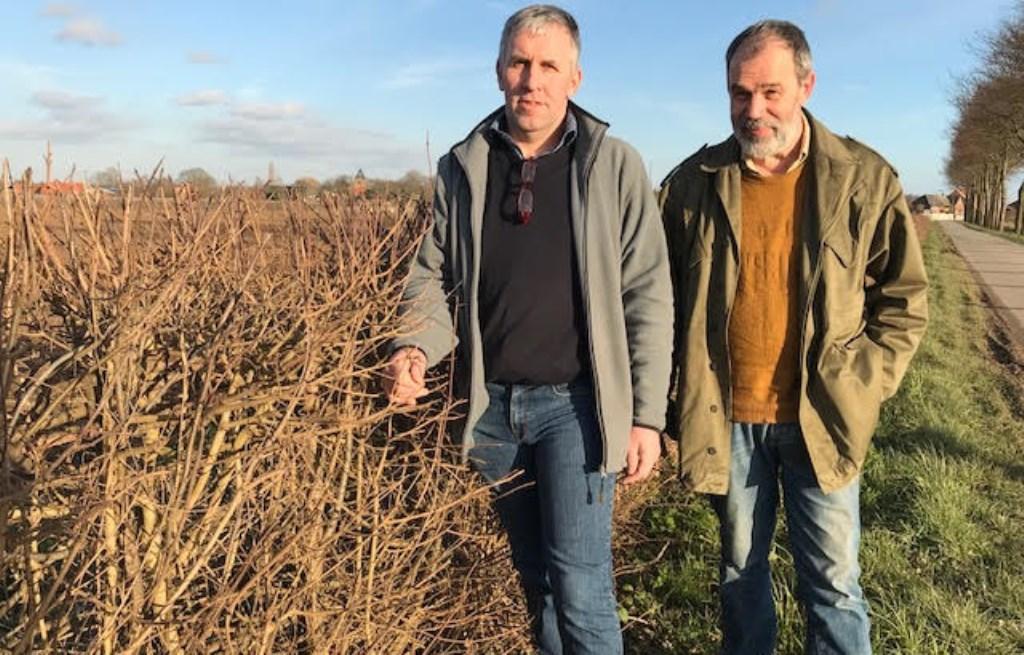 """Maasheggenvlechters Rudie van Haren (links) en Richard van den Boogaard. """"De heggen zijn belangrijk voor landschap, dieren, planten én toeristen."""" (Foto: Corine van Dijk)"""