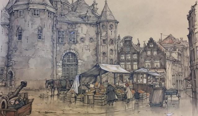 De Nieuwmarkt in Amsterdam, door Anton Pieck. (foto: Anton Pieck Museum)