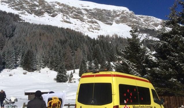 Gerrie Senders kort na aankomst met de Wensambulance in het Zillertal, Oostenrijk.