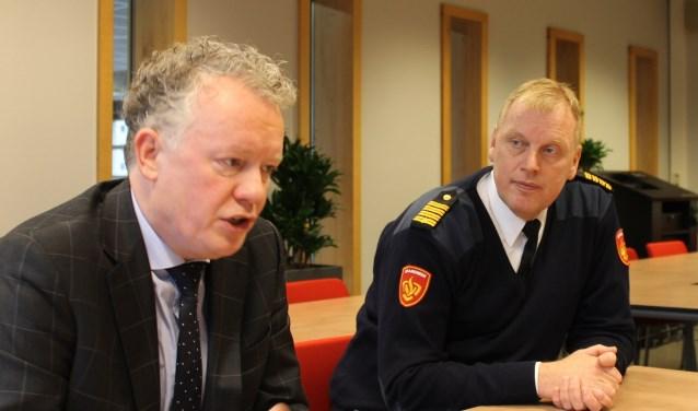 Burgemeester Jean Paul Gebben (links) is blij met het informatiesysteem om snel en goed inzicht te geven in de actuele brandveiligheid van risicovolle objecten. Rechts Ronald Pellewever van Brandweer Twente.