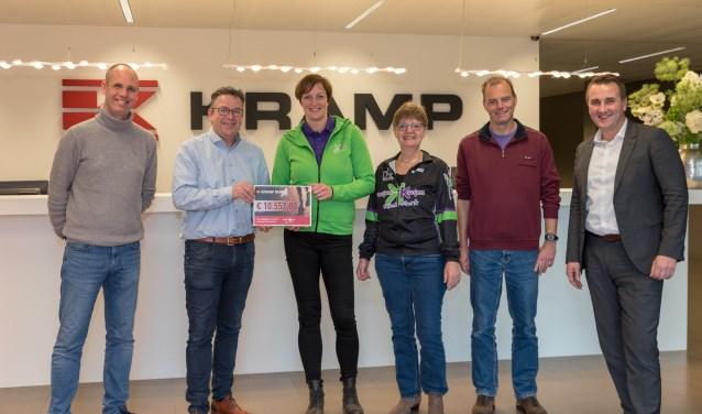 Op de foto v.l.n.r. :   Sjoerd Boom ( Kramp Run ) , Jan Frans Berends (Director logistics Kramp Groep ) , Sabine Hoitink en Jantine de Haan (Kanjers voor Kanjers), Gerrit Dijkslag (Kramp Run )  en Reiner Sloetjes  ( Region sales director Kramp Groep