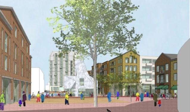 Volgens plannen past het nieuwe appartementengebouw bij eerder gerealiseerde hoogbouw, op korte afstand. Beeld: Waaijer Projectrealisatie.