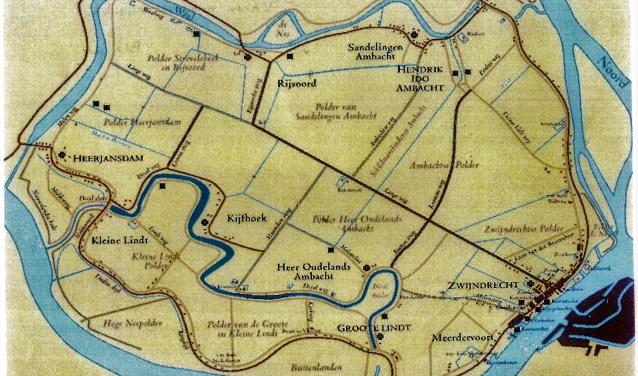 De Langeweg werd de grens tussen de ambachten aan de Develzijde (Heerjansdam, Kijfhoek, Heer Oudelands Ambacht en Schobbelands Ambacht) en die aan de Waalzijde (Strevelshoek, Rijsoord, Sandelingen Ambacht, H.I.Ambacht, Schildmanskinderen en de Volgerlanden).