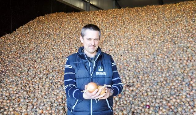 """Kees Hanse: """"De uien gaan nu weg voor de helft van de kostprijs. Ik heb nu deze uien verkocht voor 7 cent per kilo."""" FOTO: Anneke Flikweert"""