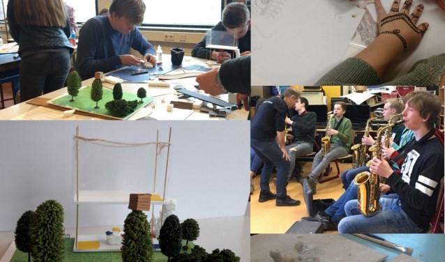 De workshops 'maquette bouwen', 'henna tattoo ontwerpen', 'saxofoon' en 'keramiek'