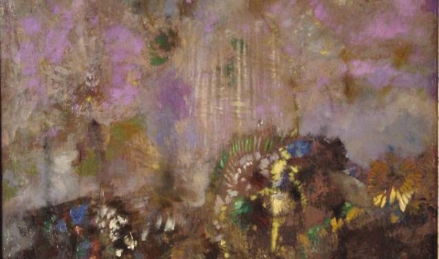 Een gedeelte van een werk uit 1900-1005 van Redon genaamd Composition Fleurs.