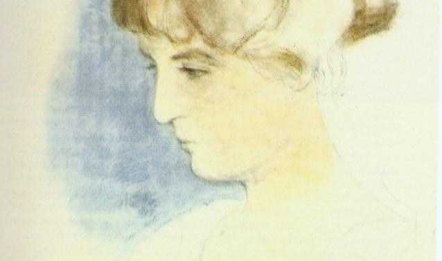 Portret uit 1920 van Jo van Poelvoorde, de echtgenote van Anton Pieck. Pieck heeft weinig portretten gemaakt. Het Anton Pieck Museum heeft dit portret kunnen kopen en het is nu te zien in het museum.