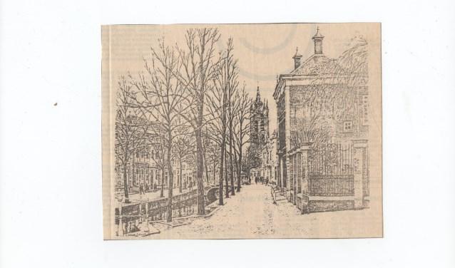 Charles Kemper tekende dit beeld op de Oude Delft met rechts het Meisjeshuis.