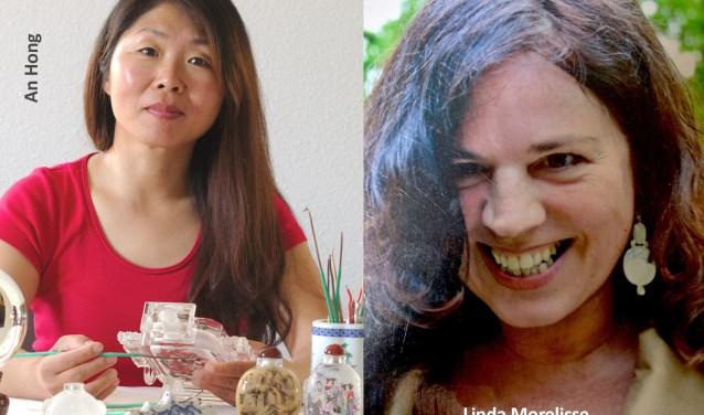 An Hong maakt Chinees schilderwerk in glas; Linda Morelisse schilderijen.