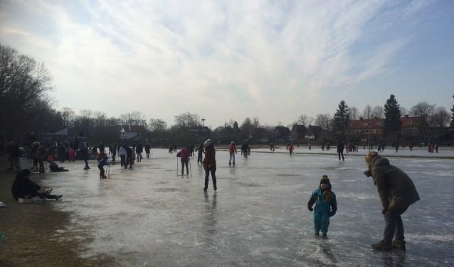 Jong, oud, alle rangen en standen op het ijs.