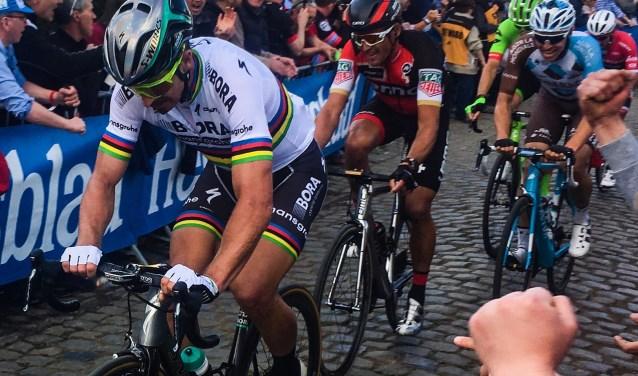 Wereldkampioen Peter Sagan in actie tijdens de Ronde van Vlaanderen van 2017