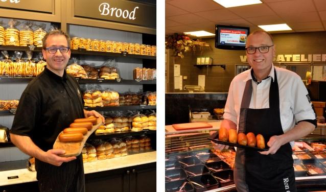 Christiaan van de Vegt van bakkerij Verba uit Sleeuwijk (ook in Rijswijk en Brakel, links) en Ron de Kwant van de gelijknamige Keurslagerij in Hank. Zondag weten ze of één van hen óf Jeroen van Dongen uit Wagenberg voor 2018 de trofee 'Lekkerste Brabantse Worstenbroodje' krijgt.