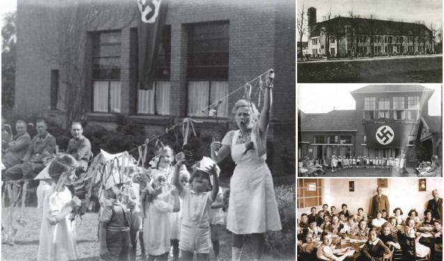 De L.W. Beekmansschool wil haar huidige leerlingen bewust maken van de roerige historie van school. Daar gingen voor WOII joodse kinderen naar school (rechtsonder), tijdens de oorlog was het een Deutsche Schule.