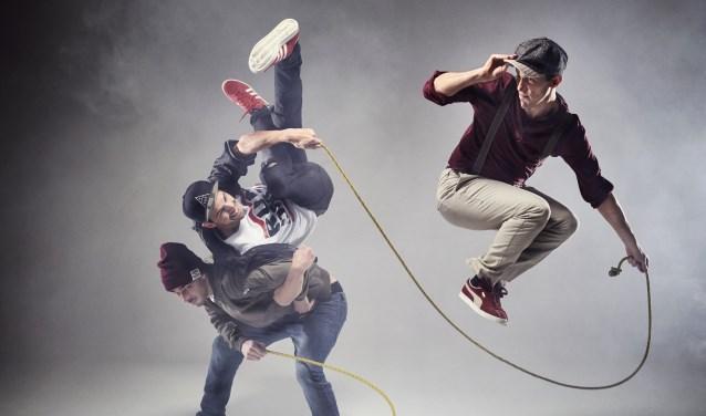 De Vlaamse DDF Crew brengt zaterdag 17 maart in Nieuwe Nobelaer in Etten-Leur een dans- en springtouw-show. FOTO: PLANET JUMP ROPE