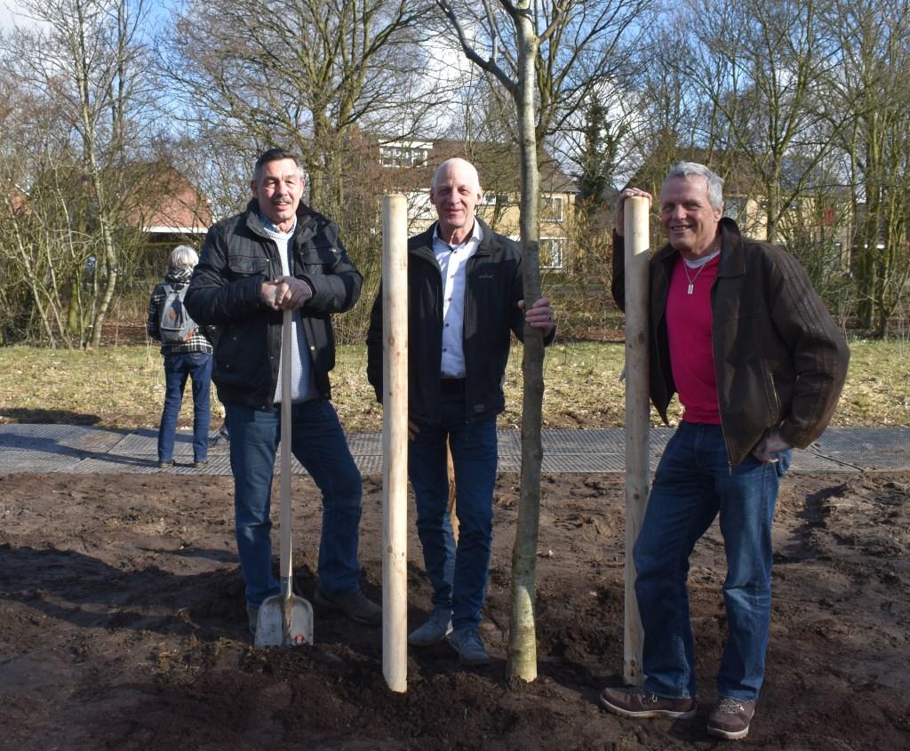 Boomplanters van het eerste uur Karel Maassen van den Brink, Herman Maris en Gerrit ten Broeke waren bij deze jubileumeditie aanwezig.  © Persgroep