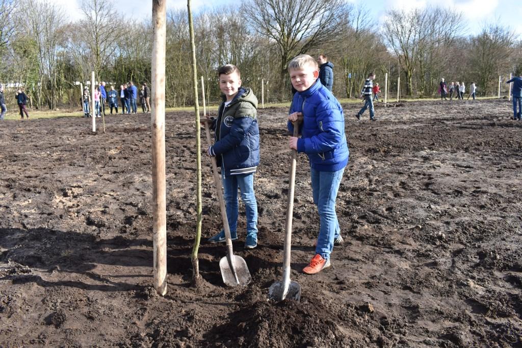 Daan en Bjorn bij de boom die zij net geplant hebben.  © Persgroep