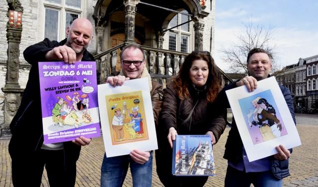 Teus de Kruif, Peter Boersma, Christine en Marco Luk zijn weer helemaal klaar voor de 12e editie van Strips op de Markt. Foto: Marianka Peters
