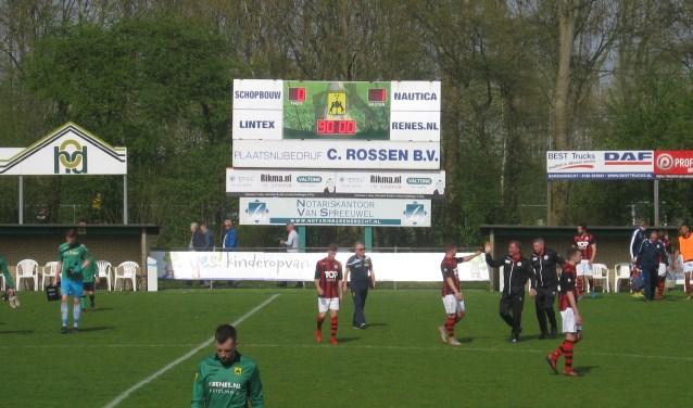 Teleurstelling bij Heerjansdam na de wat ongelukkige nederlaag.