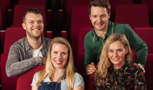 Boven: Ginno Rehling (links) en Bart Meijer. Onder: Emma Groot (links) en Pauline Schenkel. Foto PR