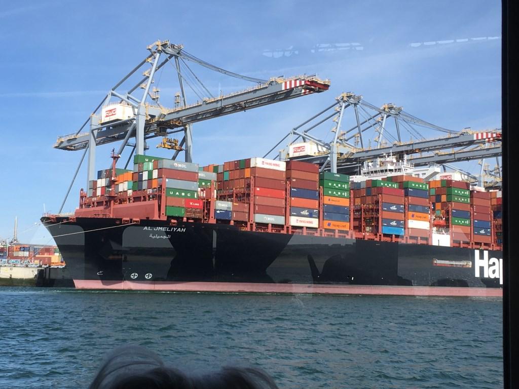 Containerschip lost in de Maasvlakte Foto: C Booman © Persgroep