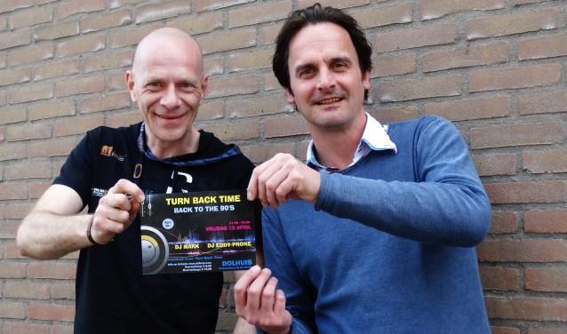 Edwin Jansen en Mark Barendregt leerden elkaar kennen op een feest in het Dolhuis ten bate van Stichting Roparun. (foto: Elisa Kuster)