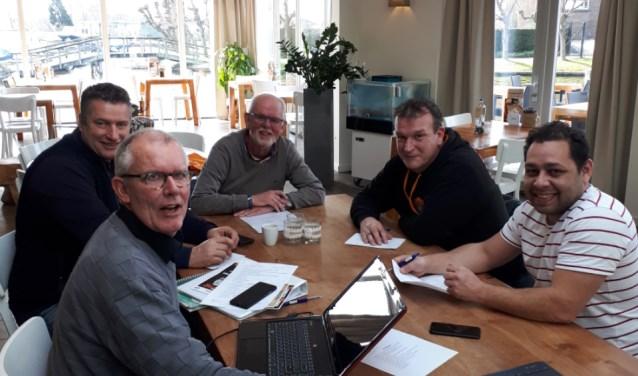De mensen achter Stichting Event Center Nieuwkoop v.l.n.r.: Ton van den Belt, Patrick Groen in 'T Wout, Guus Montagne, Danny Blom, Richard Tijsterman. Niet op de foto: Mathijs Tijsterman.