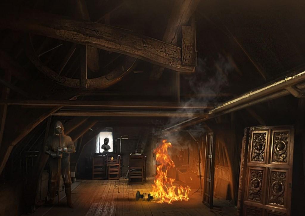 Kasteel Helmond stond in 1549 in brand en heeft daar nog nachtmerries van. Bezoekers wordt gevraagd om te helpen.