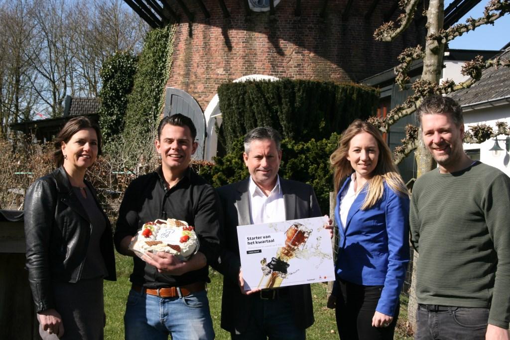 Vlnr: Ria van der Pol van Rabobank 's-Hertogenbosch en Omstreken, Joost van Eijk, Edwin Nabbe van de Persgroep, Lisanne van Riemsdijk, eveneens van de Rabobank en en Lars van de Wiel.