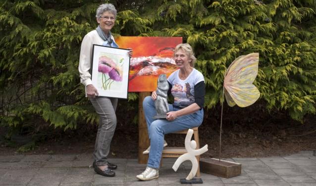 Kunst kijken tijdens de Open Atelier Route op 21 en 22 april kan onder andere bij Ria Bindels en Narda Kesseler aan de Geertrudishof bij Atelier 14. (Foto: Hetty Heijne)
