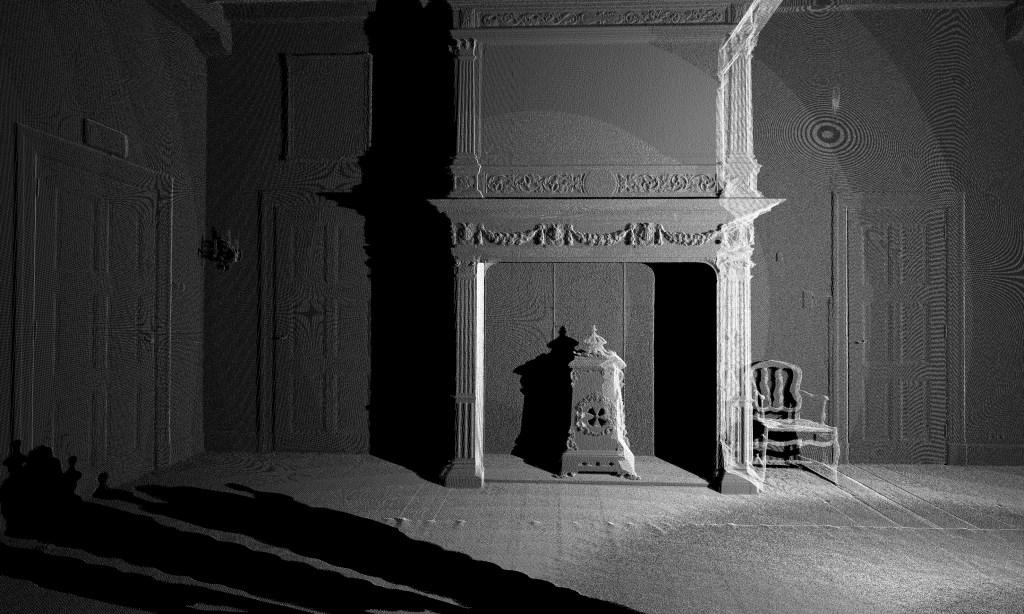 Als een zacht geruis schemert het verleden van Kasteel Ammersoyen door in de scanfoto's van hedendaagse kunstenaar Hans Wijninga.