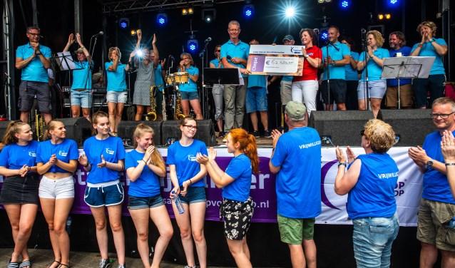 Robbert Immink, voorzitter van SamenLoop voor Hoop Zwolle, maakte zondagmiddag de opbrengst van de 24-uurs wandelestafette bekend. (foto: Frans Paalman)