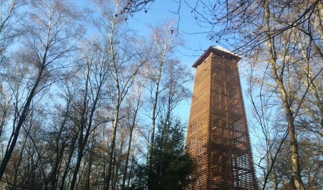 Een tekening in de uitkijktoren op de Hulzenberg geeft de bezoekers informatie over de omgeving. (foto: PR)