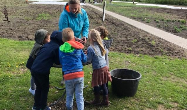 Kinderen van de Paschalisschool in Wijchen vullen potjes met aarde en bloemenzaad tijdens rondleiding door pluktuin De Sfeer van Willems.