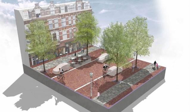 Er komt in de Frederik Hendriklaan meer ruimte voor het parkeren van fietsen en voor terrassen terwijl de bestaande parkeercapaciteit zoveel mogelijk wordt gehandhaafd. Foto: PR