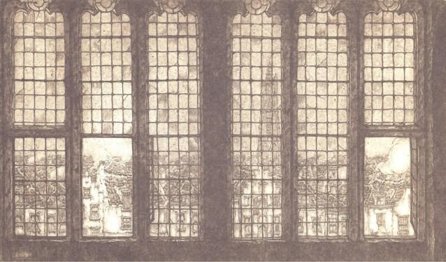 De ets van het kerkvenster van de Sint Joriskerk in Amersfoort.