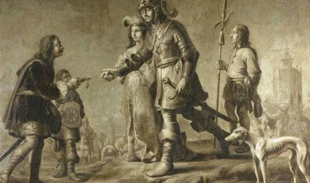 Heer Boudewijn van Heusden en zijn echtgenote Sophia ontvangen eerbewijzen van de gezant van koning Edmund.