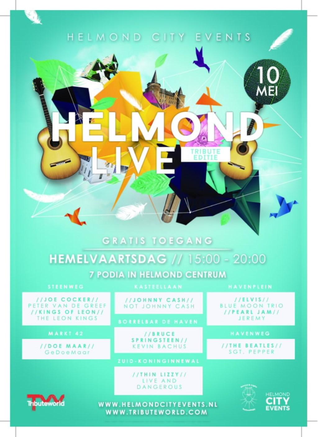Helmond Live is een nieuw muziekfestival in Helmond. De eerste editie is op donderdag 10 mei. Daarna volgen er nog drie: op 12, 19 en 26 mei.