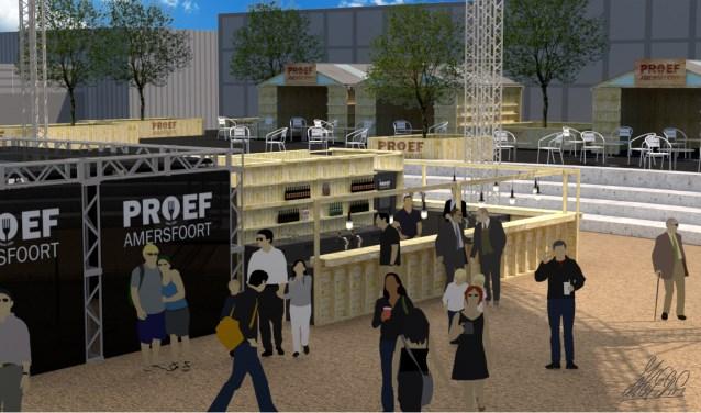 Proef Amersfoort is deels aangepast aan de nieuwe locatie, met duurzame houten paviljoens ontworpen door Pop Up Pallets. (Foto: artist impression, PA)