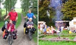 Foto's uit het 50-jarig bestaan van NIVON-natuurkampeerterrein De Grutto aan de Abtswoude 27a in Schipluiden. Links: fietskampeerders uit België en Rechts: kamperen bij het kampvuur.