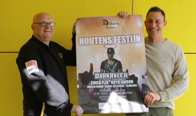 """Evert Bosveld en Sander Huele: """"Het is uniek in Houten: in een sporthal tot 03.00 uur 's nachts."""" Kaartjes zijn te koop voor 17,50 via www.rhbevents.nl. Aan de deur kost een kaartje 23,50. Aanvang: 20.30 uur."""