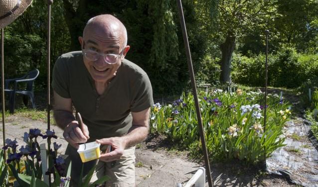 Loïc Tasquier is altijd bezig in zijn tuin. Hij is wereldberoemd om het kruisen van irissen. De tuin van hem en Jan Rooding in Gendt staat er vol mee. Elk jaar mogen bezoekers komen kijken. En dat is voor iedereen genieten. (foto: Ellen Koelewijn)