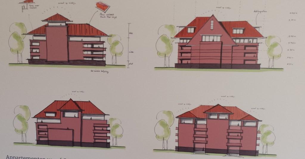 Vier schetsontwerpen voor het te bouwen Residence Oranjeburgh midden in de villawijk. 18 appartementen met drie penthouses er bovenop.