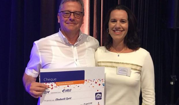 Cees Boer (l) en Janita Boogaard van de Rabobank Merwestroom bij de uitreiking van de cheques. (Foto: Privé)