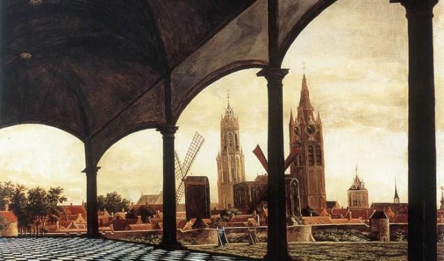 Gezicht op Delft vanuit een 'fantasie'loggia door Daniël Vosmaer, 1663