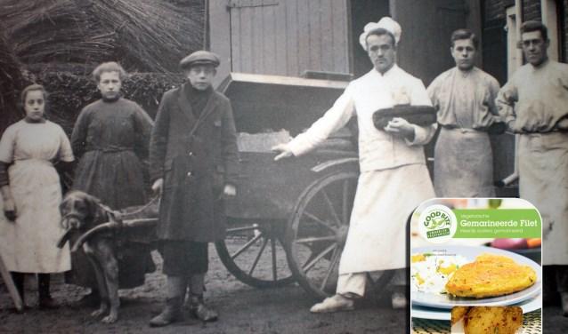 Hier drie zonen van oprichter Klaas Schouten: Bart (met pet), tweede van rechts Otto en rechts Marinus, de grootvader van de huidige directeuren Henk en Govert Schouten. Onder de naam GoodBite wordt een breed scala aan producten op de markt gebracht op basis van plantaardig eiwit.